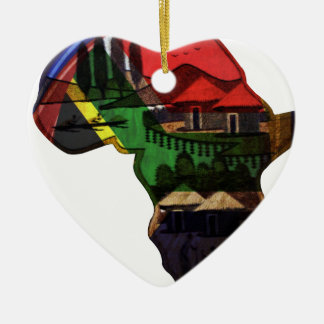Africa Double-Sided Heart Ceramic Christmas Ornament