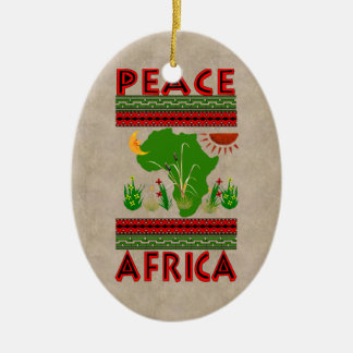 Africa Peace Double-Sided Oval Ceramic Christmas Ornament