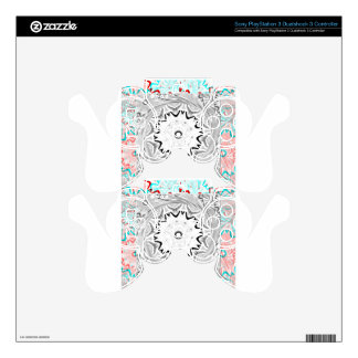 Africa Pink Cyan geometry PS3 Controller Decals