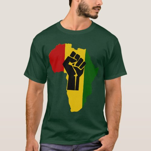 Africa Rasta Black Fist Dark Colored T_Shirt