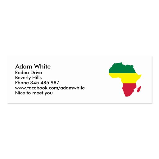Africa Reggae Business Cards