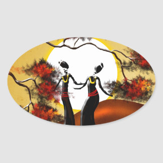 Africa retro vintage style gifts 08 oval sticker