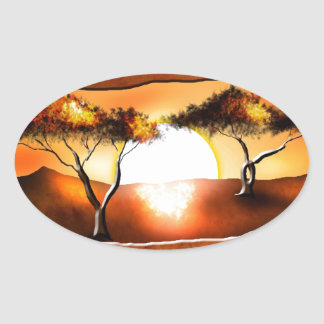 Africa retro vintage style gifts 12 oval sticker