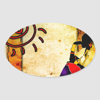 Africa retro vintage style gifts 17 oval sticker