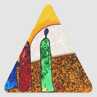 Africa retro vintage style gifts triangle sticker