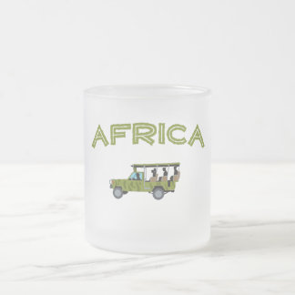 Africa Safari Truck Frosted Glass Coffee Mug