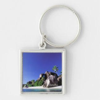 África, Seychelles, isla de Digue del La. Granito  Llavero Cuadrado Plateado
