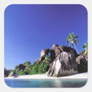 África, Seychelles, isla de Digue del La. Granito Pegatina Cuadrada