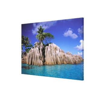 Africa, Seychelles, La Digue Island. Granite 3 Canvas Print