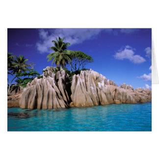 Africa, Seychelles, La Digue Island. Granite Card
