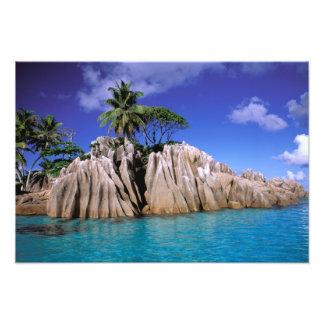 Africa, Seychelles, La Digue Island. Granite Photo Print