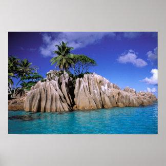 Africa, Seychelles, La Digue Island. Granite Poster