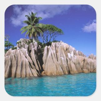 Africa, Seychelles, La Digue Island. Granite Square Sticker