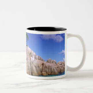 Africa, Seychelles, La Digue Island. Granite Two-Tone Coffee Mug