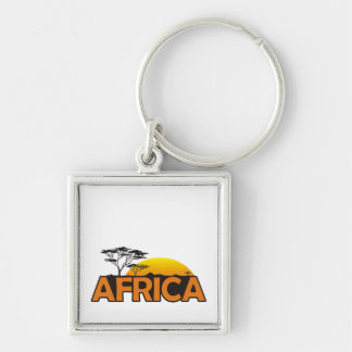 Africa sunset with orange setting sun keychain