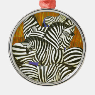 Africa Travel Poster with Zebras Metal Ornament