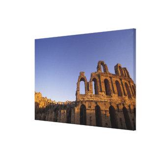 África, Túnez, EL Jem. Ruinas de 2 romanos Impresión En Lona Estirada