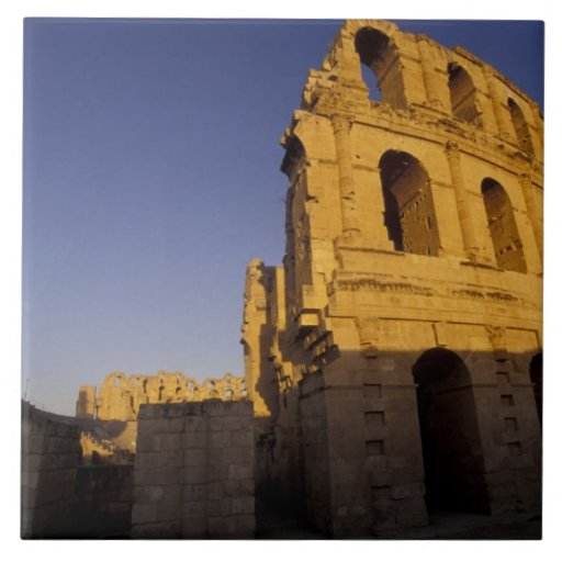 África, Túnez, EL Jem. Ruinas de un romano Azulejo Cuadrado Grande