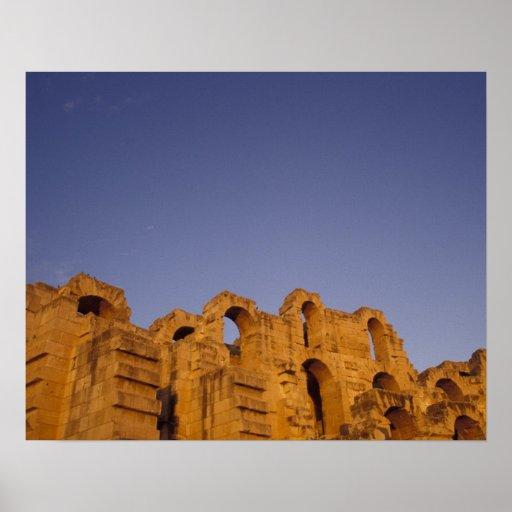 África, Túnez, EL Jem. Ruinas de un romano Póster