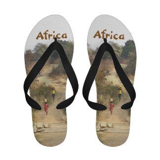 AFRICA TWO CHILDREN WALKING DUSTY PATH PHOTOG Flip-Flops
