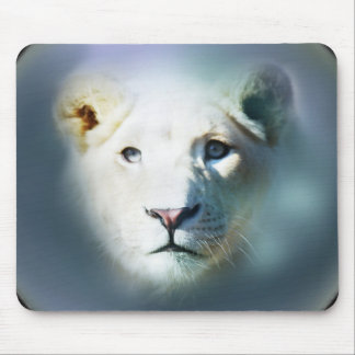 Africa White Lion Blue Eyes Mouse Pad