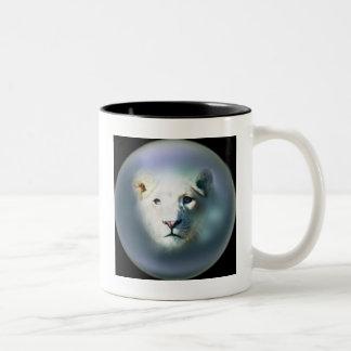 Africa White Lion Blue Eyes Two-Tone Coffee Mug