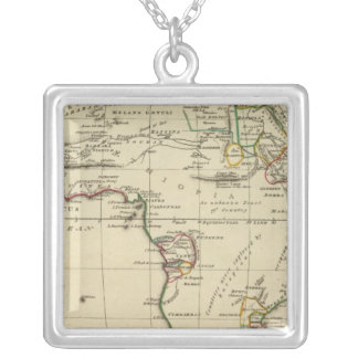 Africa with boundaries outlined square pendant necklace