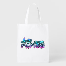 Africa word with safari animals grocery bag