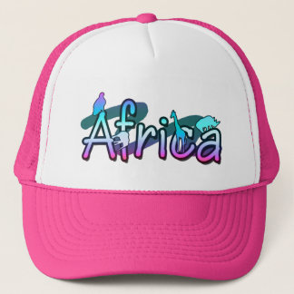 Africa word with safari animals trucker hat