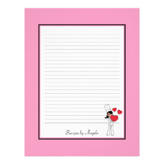 Africal American Woman Recipe Pages Lined Custom Letterhead