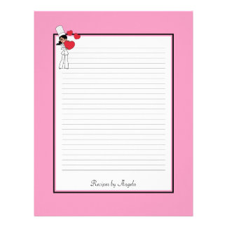 Africal American Woman Recipe Pages Lined Customized Letterhead