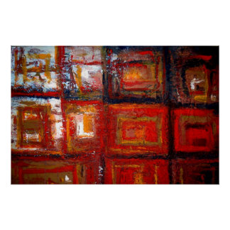 African Abstract Squares Painting Art Print Poster