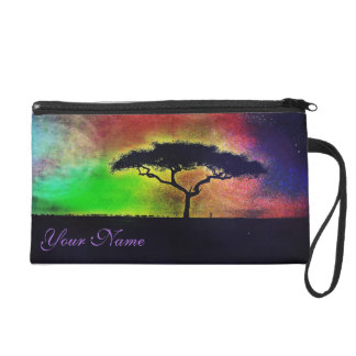 African Acacia Tree-Multicolor Wristlet Clutch