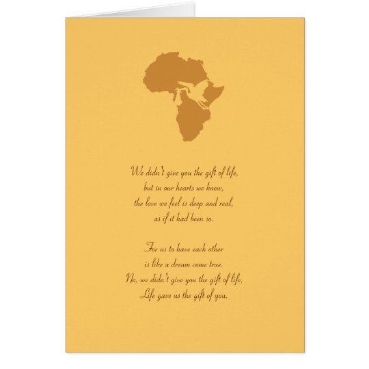 African Adoption Gift of You Poem - Customizable! Card