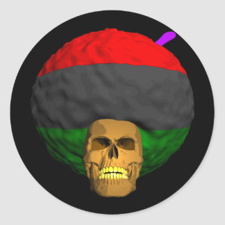 African Afro Skull Classic Round Sticker