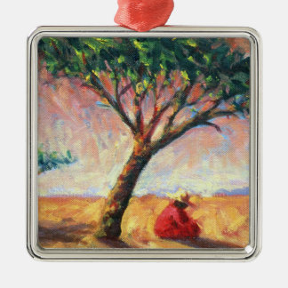 African Afternoon 2003 Square Metal Christmas Ornament