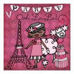 African Amer. Girl Ooh La La Paris Birthday Invite