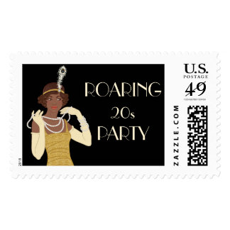 African American 1920's Flapper Girl Gold Postage