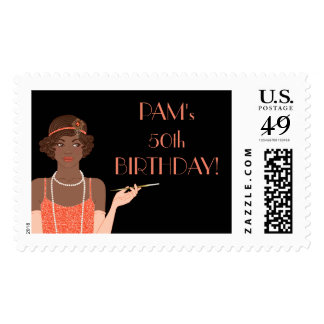 African American 1920's Flapper Girl Tangerine Postage