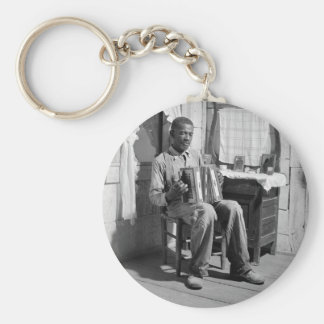African American Accordion Player, 1941 Keychain