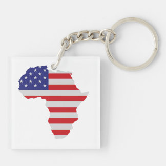 African American Africa United States Flag Square Acrylic Key Chain