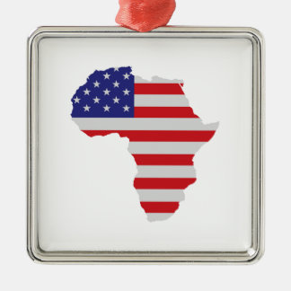 African American Africa United States Flag Metal Ornament