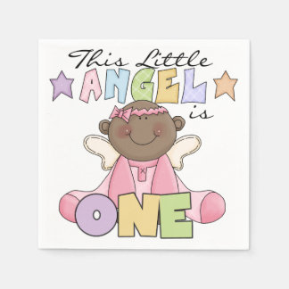 African American Angel Baby is One Paper Napkins