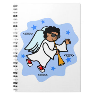 African American Angel Boy with Horn Spiral Notebook