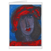 African-American Art -College Girl-Blank Card