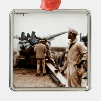 African American Artillerymen WWII Metal Ornament