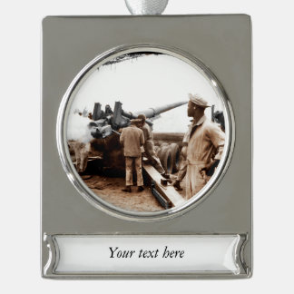 African American Artillerymen WWII Silver Plated Banner Ornament