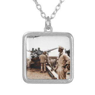 African American Artillerymen WWII Silver Plated Necklace