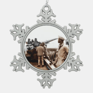 African American Artillerymen WWII Snowflake Pewter Christmas Ornament