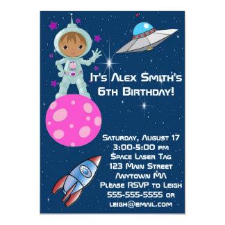 "African American Astronaut Birthday Invitation 5"" X 7"" Invitation Card"
